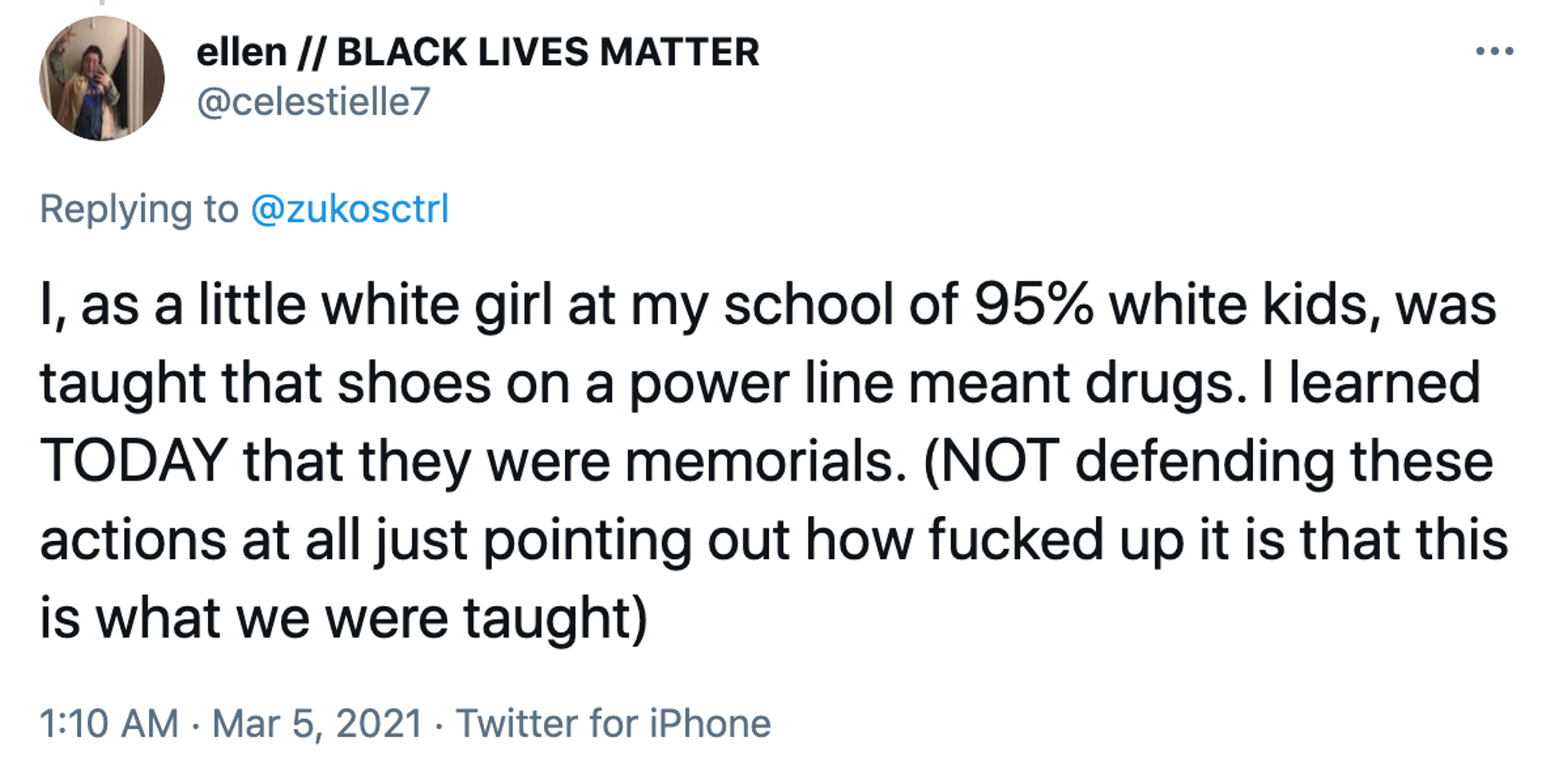 I, as a little white girl at my school of 95% white kids, was taught that shoes on a power line meant drugs. I learned TODAY that they were memorials. (NOT defending these actions at all just pointing out how fucked up it is that this is what we were taught)