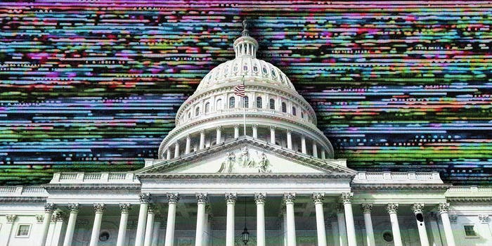 The United States Capitol building superimposed on a digital field.