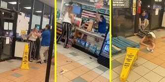 A maskless woman fights with a convenience store employee.