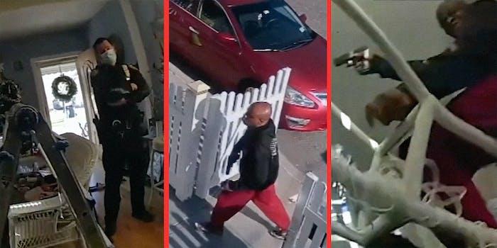 A cop in a living room (L), a man carrying a gun (C), and a man pointing a gun (R)