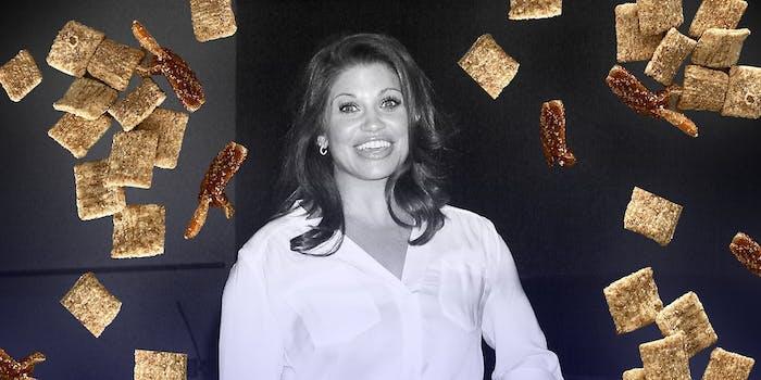 Daniella Fishel surrounded by Cinnamon Toast Crunch.
