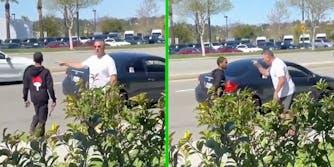 A white man, former LAPD detective John Motto,points finger at a black man.