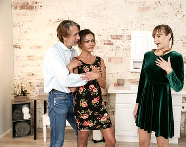 """Aila Donovan, Rebecca Vanguard, and Steve Holmes in """"Tag-Teamed By My In-Laws"""" for FantasyMassage.com"""