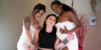 """Amari Anne, Petra Blair, and Avery Black in the Fantasy Massage original """"You're Both Acting Stubborn"""""""