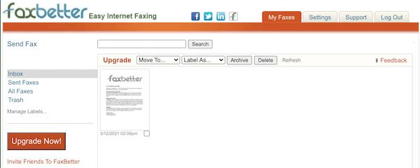 faxbetter interface