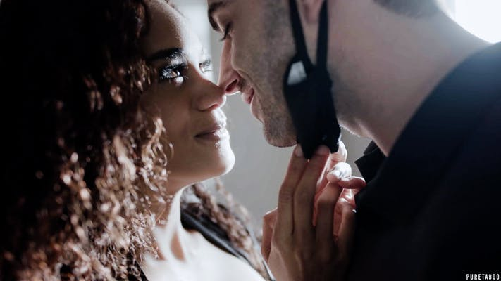 """ake Adams and Scarlit Scandal share a kiss in Future Darkly's """"Pandemic."""""""