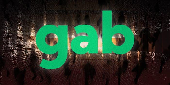 Gab logo on digital background.