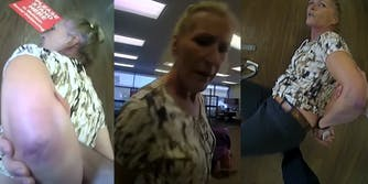 woman getting arrested at a galveston bank of america