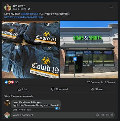 Georgia sheriff who defended spa shooter shares racist COVID 19 shirt