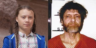 Greta Thunberg (L) and the Unabomber (R).