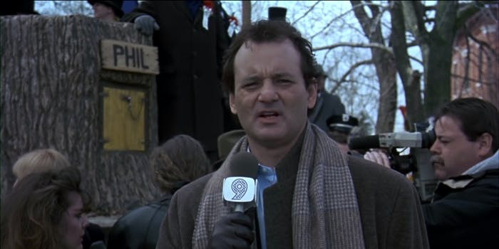 Image from Groundhog Day showing Bill Murray.