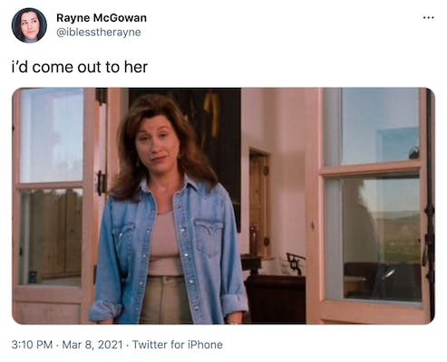 """""""i'd come out to her"""" Chessy from the Parent Trap, a brunette in a denim jacket"""