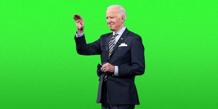 Joe Biden on a green background.