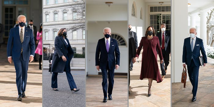 President Joe Biden and Vice President Kamala Harris walking separately.