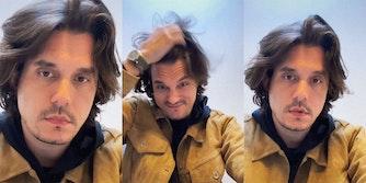 Musician John Mayer stares at camera and adjusts hair.