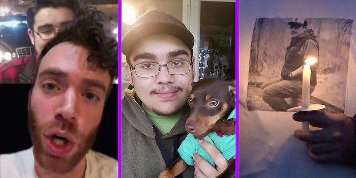 A man talks into camera (L), Jason Fox with a dog (C), and a candlelight vigil (R).