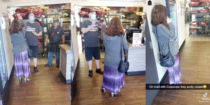woman shouting at pizza hut workers