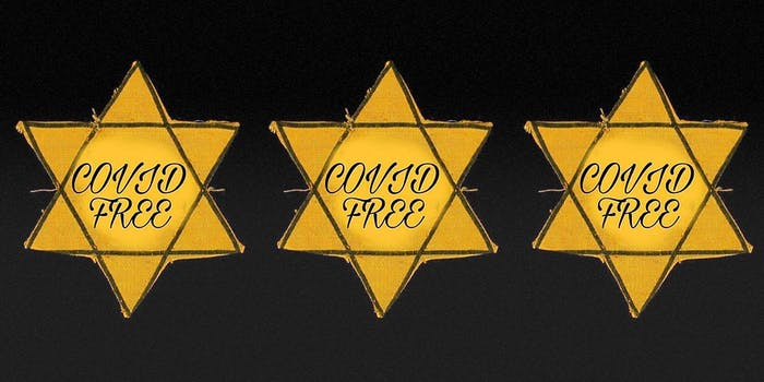 Three gold Star of David badges with the words 'Covid Free' written on each.