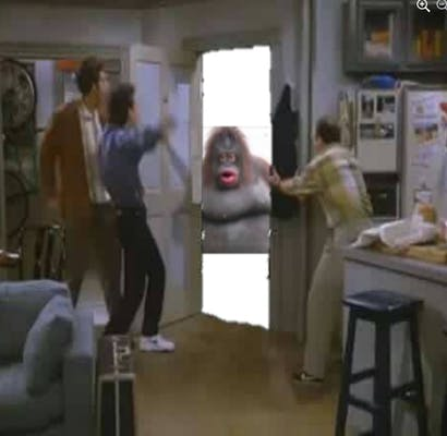 The cast of Seinfeld running to greet Le Monke at the door