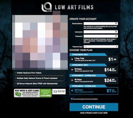 Low Art Films membership page