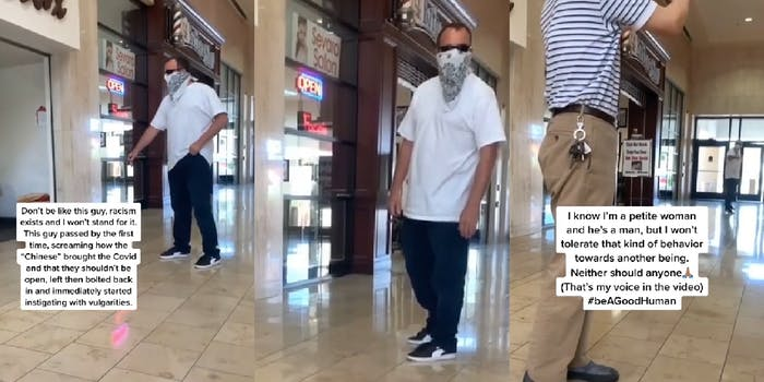 man in mask harasses asian store owner and woman sitting in mall