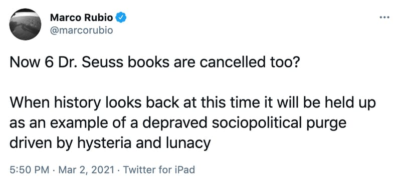 Now 6 Dr. Seuss books are cancelled too? When history looks back at this time it will be held up as an example of a depraved sociopolitical purge driven by hysteria and lunacy