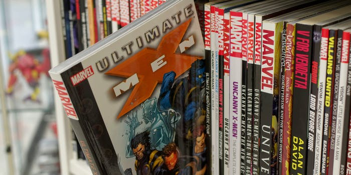shelf of marvel graphic novels and trades