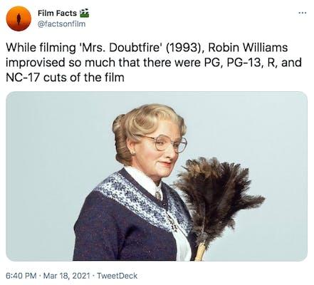 mrs doubtfire cut nc17