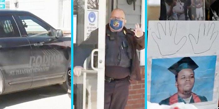 A cop car (L), a cop (C), and a memorial for a murder victim (R).