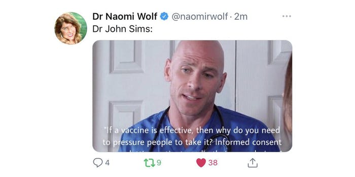 """Dr Naomi Wolf tweet """"Dr John Sims:"""" with picture of adult film performer Johnny Sims pretending to be a doctor"""