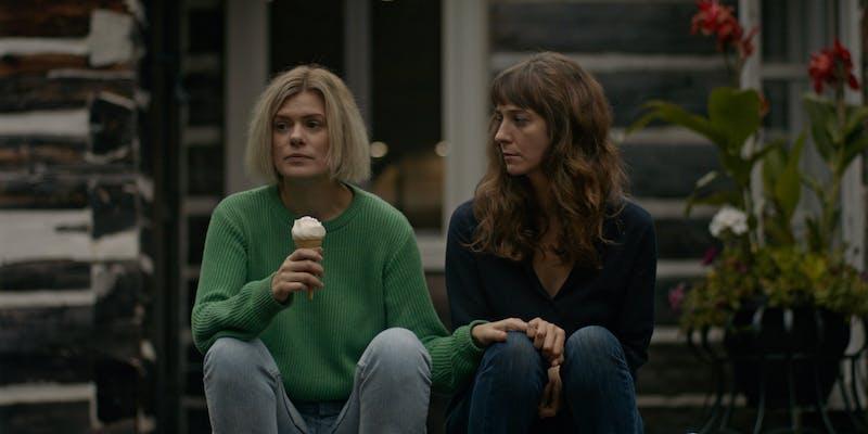 two women staring