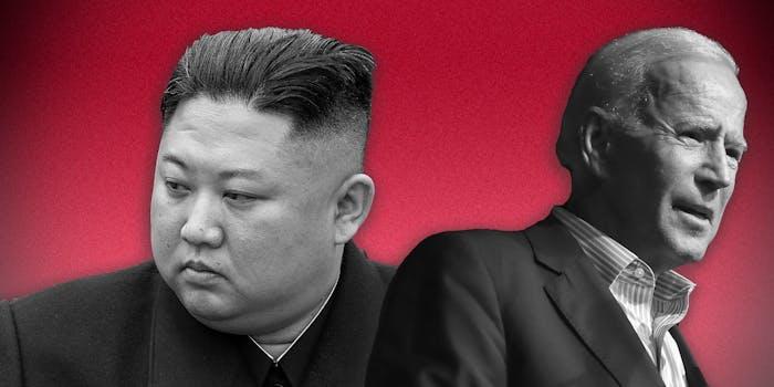 Kim Jong-un and Joe Biden on a red background.