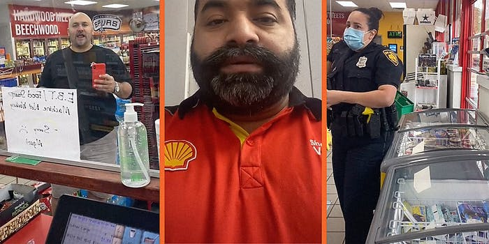 A man in a convenience store (L), a man talking into camera (C), and a police officer (R).