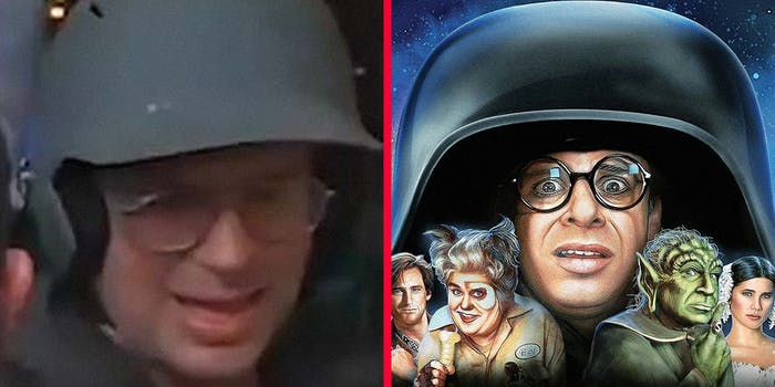 A Capitol rioter (L) and Rick Moranis in Spaceballs (R).