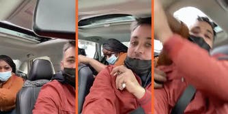 A woman attacks a man driving a car.