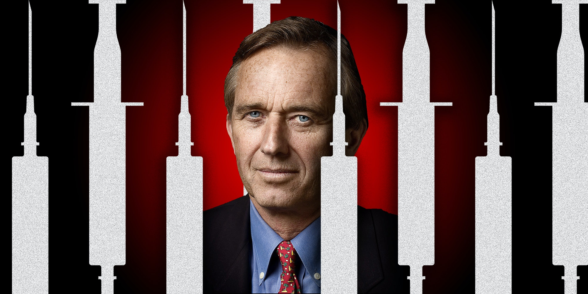 Illustration of Robert Kennedy Jr. with syringes.