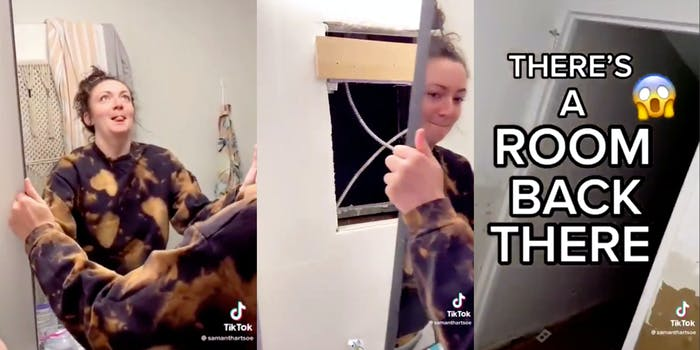tiktoker removing mirror in bathroom to reveal a hidden room