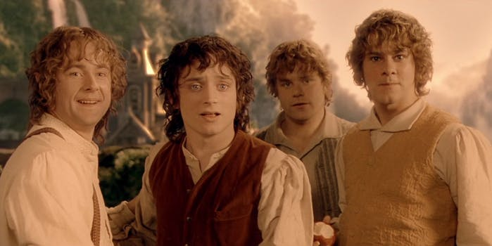 An image from lord of the rings: fellowship of the ring showing Frodo and the other hobbits.
