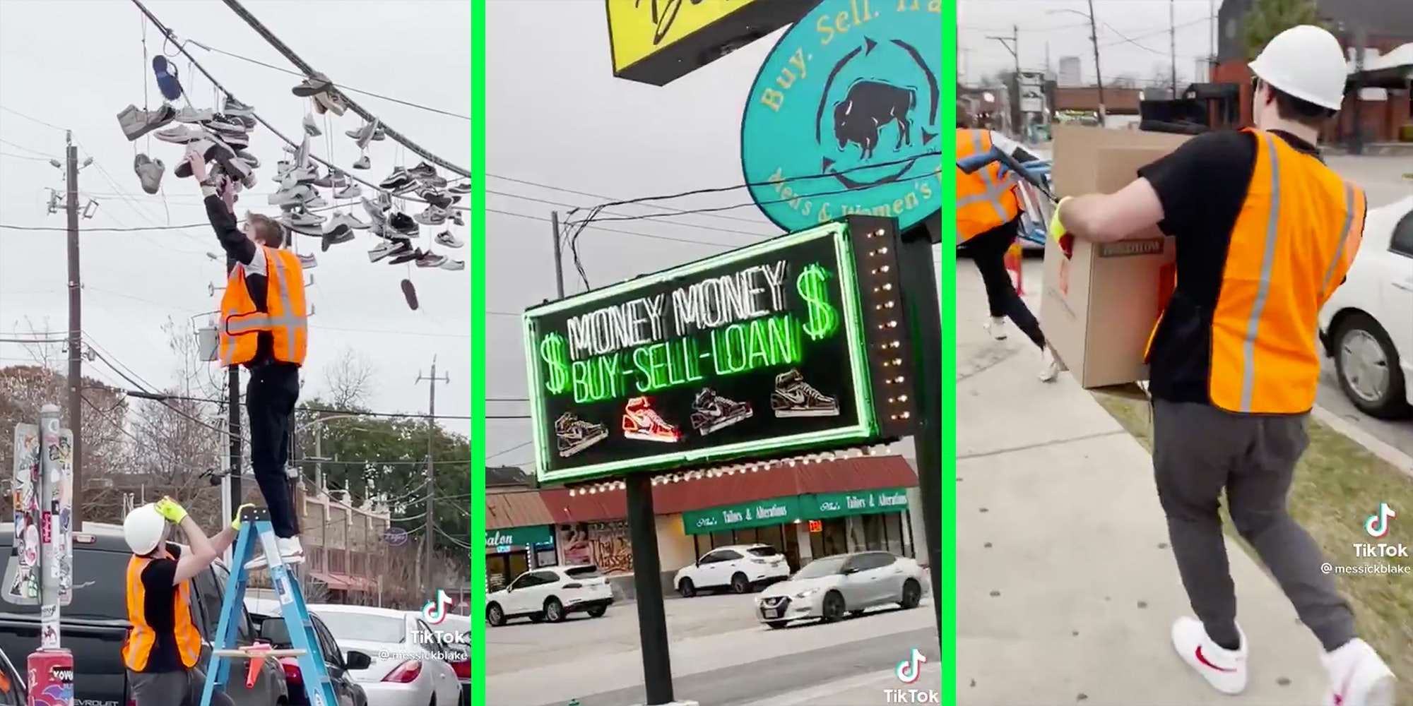 Kids taking shoes off power lines (l), a neon sign (c), and kids running with cardboard box(r).