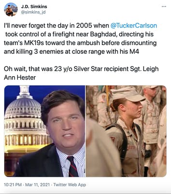 """I'll never forget the day in 2005 when  @TuckerCarlson  took control of a firefight near Baghdad, directing his team's MK19s toward the ambush before dismounting and killing 3 enemies at close range with his M4   Oh wait, that was 23 y/o Silver Star recipient Sgt. Leigh Ann Hester"" picture of Ticker Carlson next to Sgt. Leigh Ann Hester in uniform, surrounded by other soldiers"