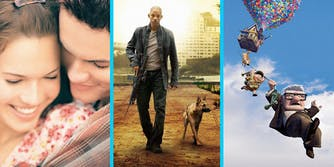 A couple embrace (L), a man walks with a gun and dog (C), and a cartoon character in the air with balloons (R).