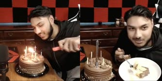 A streamer with a birthday cake for one of his fans
