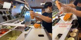 Customer in Subway shop, subway worker squeezing sauce on sandwich, close-up of subway sandwich