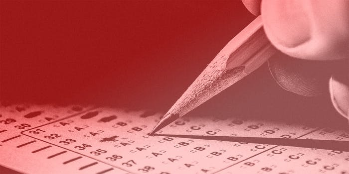 A standardized test being filled out with a pencil.