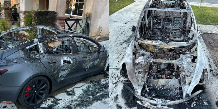 Two pictures of a burned down Tesla that burst into flames while parked
