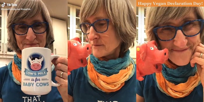 "woman drinking from a mug that reads ""Cow's milk is for baby cows"" (l) playing with a plastic pig (c) ""Happy Vegan Declaration Day!"" cpation with woman smiling holding toy pig"
