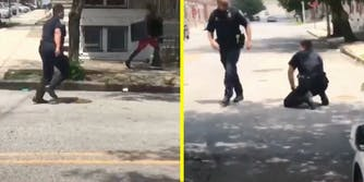 A police officer chases a man with television.
