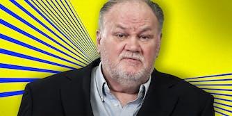 Thomas Markle on a yellow dan blue background.