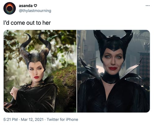 """""""I'd come out to her"""" two pictures of Angelina Jolie as Maleficiant, one where she's looking aloof and the other where she's smiling"""