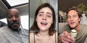 Deepfake screenshots of Eddie Murphy, Billie Eillish, and Matthew McConaughey via TikTok.